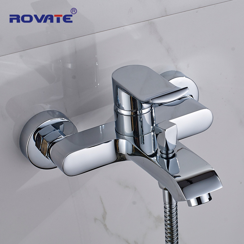 ROVATE Bathtub Faucet Brass 2-Function Outlet Wall Mounted Bath Shower Faucets Mixer Tap Chrome Finished
