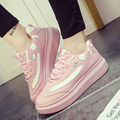 Специальная Цена Высокое Качество Женщины Повседневная Обувь Сексуальная Увеличение Высоты Женщин Туфли На Платформе Зашнуровать Розовый Студент Обувь G62 35