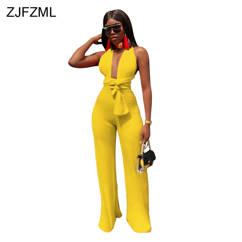 ZJFZML Sexy Backless Lace Up Bodycon   Jumpsuit   Women Deep V Neck Sleeveless Party Club Bodysuit 2018 Casual Solid Wide Leg Romper