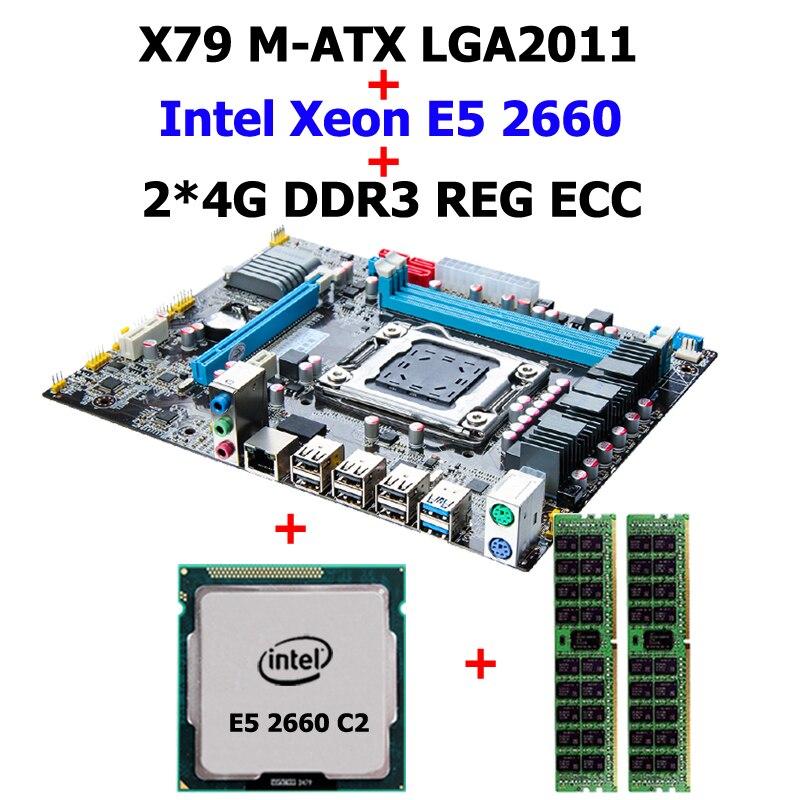 Build good computer HUANAN X79 motherboard CPU RAM combos X79 LGA2011 CPU Intel Xeon E5 2660 C2 SROKK RAM 8G(2*4G) DDR3 REG ECC