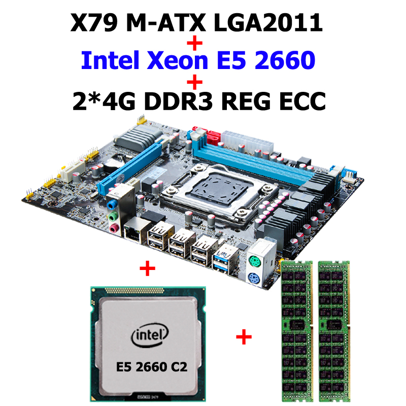 Construire un bon ordinateur HUANAN X79 carte mère CPU RAM combos X79 LGA2011 CPU Intel Xeon E5 2660 C2 SROKK RAM 8G (2*4G) DDR3 REG ECC