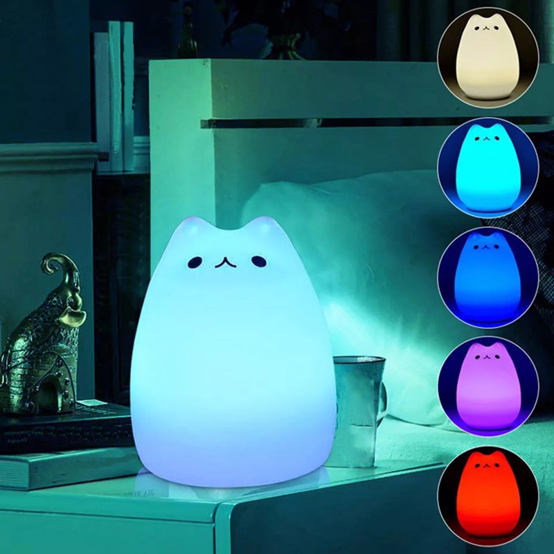 HUSUYUHU SISI 7 Colors Cat LED Children Animal Night Light Silicone Soft Cartoon Baby Nursery Lamp Breathing LED Night Light beiaidi 7 color usb rechargeable rabbit led night light dimmable animal cartoon light with remote baby kids christmas gift lamp