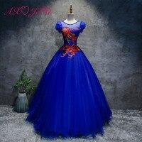 AXJFU принцессы Королевское голубое кружево вечернее платье со стразами роскошные Урожай этап бисером красный цветок Круглая горловина Коро
