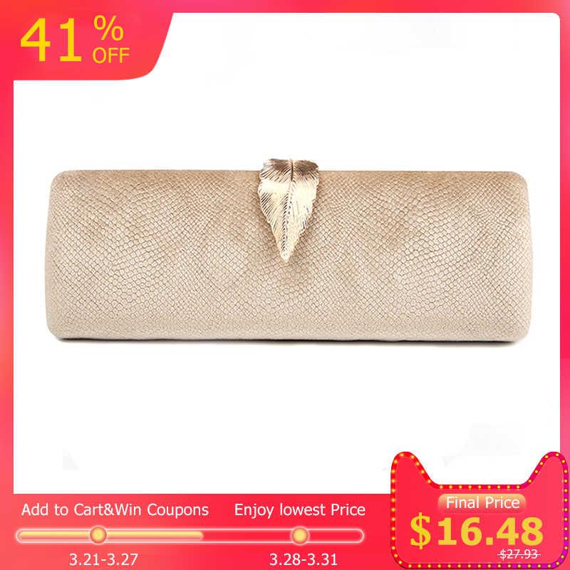 7457a2c0b1d3 Из искусственной замши вечерний клатч для Для женщин Длинная клатч  позолоченный металл замочек в форме листа