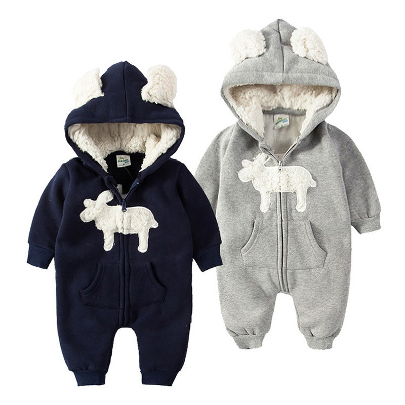 Godier Winter Infant Baby Romper Cotton Fleece Kids Jumpsuit Animal Suit Boy Girls Pajamas Bear Hoodie Costumes Cosplay Coverall winter newborn animal bear romper long sleeve cotton baby pajamas jumpsuit clothes unisex baby boy girls rompers infant clothing