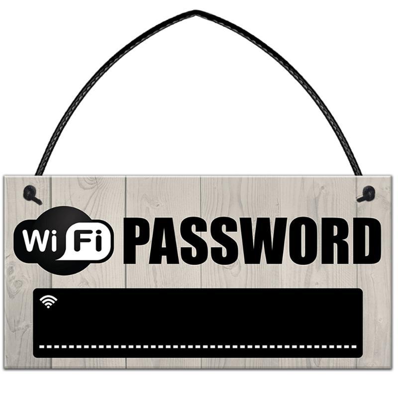En bois WiFi Mot de Passe Signe Pendaison Bord de Tableau Noir Internet Signal Plaque Indication Maison Café Bar Parti Décorations