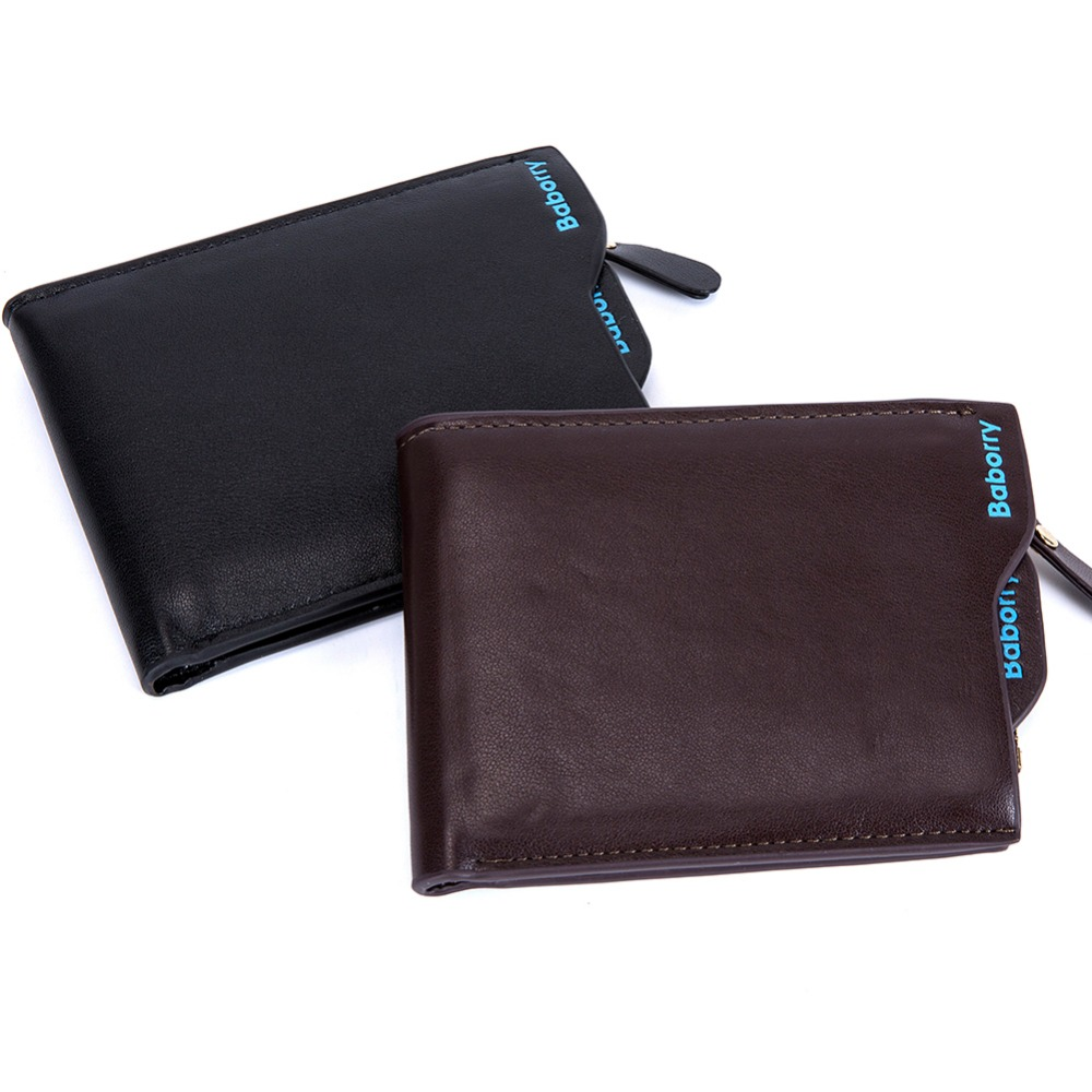 HOT! Men Casual Leather Wallet fashion Design  Small Coin Purse Male Short Slim Zipper Wallet Card Photo Holder 2017 Carteira leather men wallet super thin leather handmade custom name slim purse men short small wallet card purse male