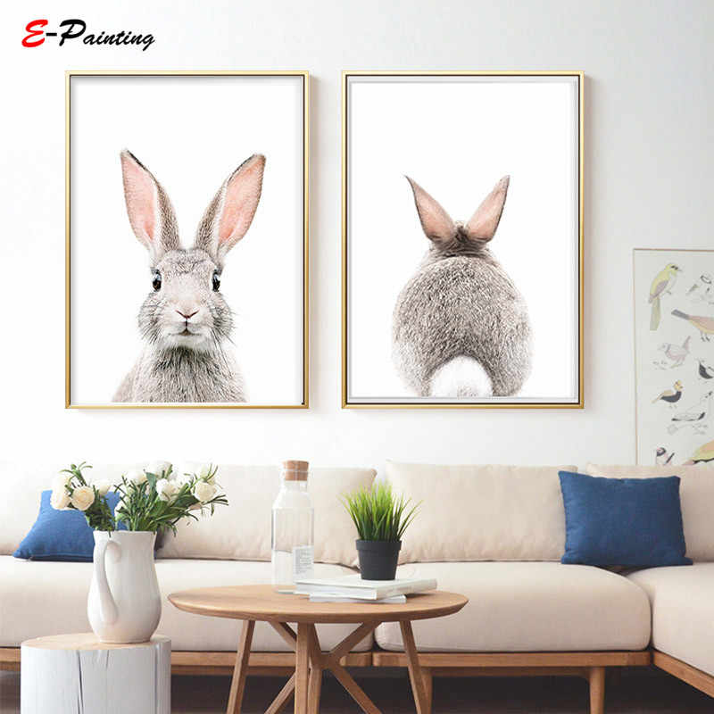 Modern Canvas Art Cute Bunny Prints Nursery Wall Decoration Poster Living Room Home Decor Picture