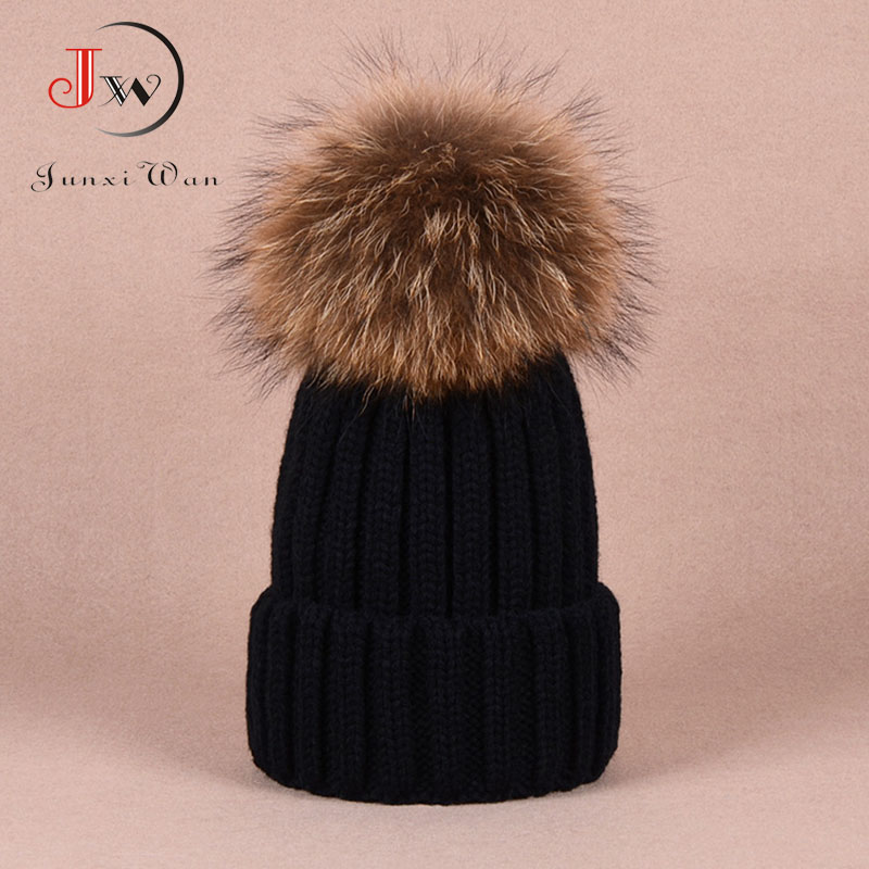 Skullies & Beanies Women's Winter Hats Raccoon Fur Pompons Ball Cap Hat Female Beanie Wool Knitted Gorros Thick Women Caps skullies