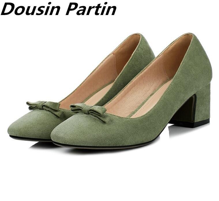 Dousin partin 2018 แฟชั่นผู้หญิงปั๊มรองเท้าส้นสูงหนารองเท้าผู้หญิงรอบ Toe ผู้หญิงรองเท้าแต่งงาน bowtie Zapatos Mujer-ใน รองเท้าส้นสูงสตรี จาก รองเท้า บน   1