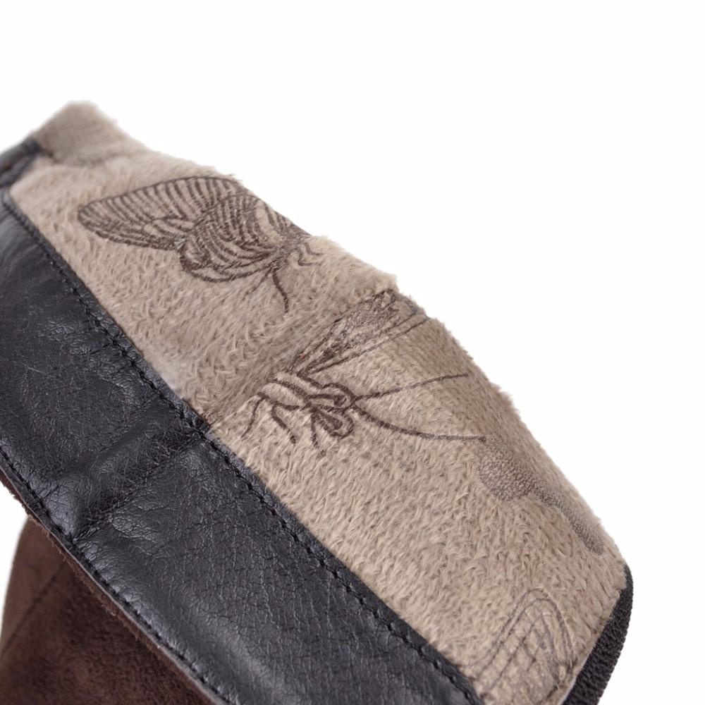 43 Dedo Alto Cremallera Tamaño Black De Del 8255 8255 Botas Puntiagudo Montar Pie brown Tacón Moda Zapatos Lado Grandes Otoño 31 Invierno Nuevo Mujer Evchar Becerro 1qpv8Fx