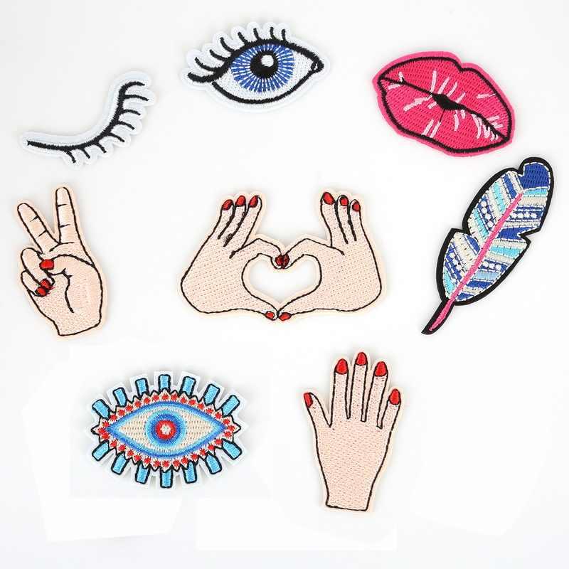 5 قطعة عيون الأيدي مثير الشفاه بقع التطريز الحديد على يزين ل سترة حقيبة الملابس والاكسسوارات ملصقات النسيج DIY بها بنفسك