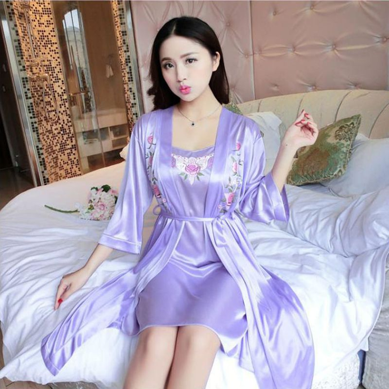 Women Sexy Night Dress Soild Sleepwear One Size Thin Satin Luxurious Lightweight Long Sleeve With Belt Lace Home Set Mid Dress