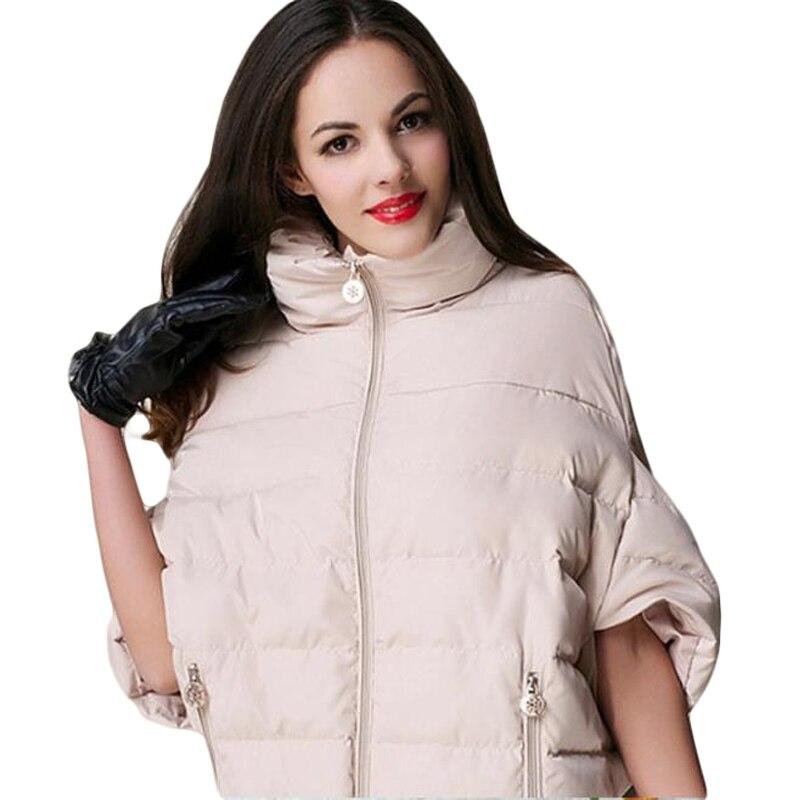 New 2017 Winter Jacket Women Down Cotton Jacket Ladies Batwing Sleeve Cloak Coat Manteau Femme   Parkas   Winter Coat Women J021
