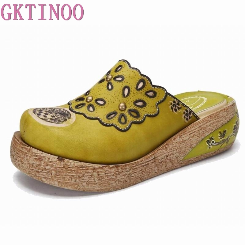 GKTINOO Slippers Genuine Leather Shoes Handmade Slides Flip Flop On The Platform Clogs For Women Women