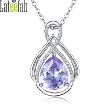 Lateefah Waterdrop Crystal Pendant Necklace for Women Silver Color Big Cubic Zirconia Luxury Female Wedding Necklaces & Pendants(China)