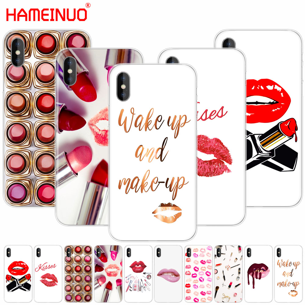 HAMEINUO <font><b>Sexy</b></font> Lips Makeup Cosmetics Lipstick Powder cell phone Cover <font><b>case</b></font> for <font><b>iphone</b></font> X 8 <font><b>7</b></font> 6 4 4s 5 5s SE 5c 6s plus image