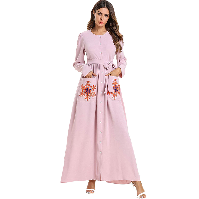 WHZHM Pink Plus Size 3XL 4XL Robe Muslim Dress Button Floral Women Female Maxi Flower Embroidery
