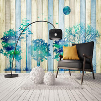 Living Room Decorating Ideas Custom Wallpaper Modern Living Room Decorating Painting Simple Tree Forest Wood Board