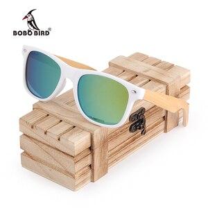 Image 1 - BOBO BIRD  Women Bamboo Wood Sunglasses Polarized White Square Frame Vintage Glasses oculos de sol feminino C CG007