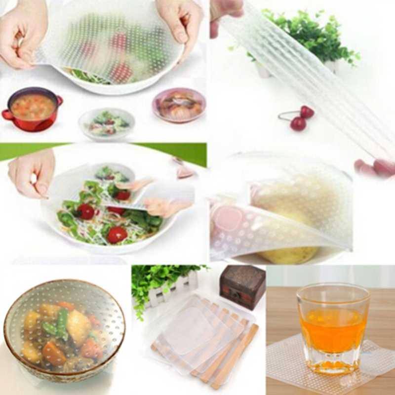 4 ชิ้น/เซ็ตซิลิโคน Wrap ซีลอาหารสดห่อฝาปิดยืดสูญญากาศห่ออาหารชามหน้าแรกครัวเครื่องมือ