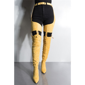 Rihanna Sexy Women Belted Waist Strap Crotch Thigh High Boots Lady High Heels Pant Yellow Over The Knee Boots Dress Shoes Women