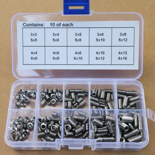 200Pcs 304SS M3 M4 M5 M6 Cone Point Allen Head Hex Socket Screws Assortment Kit 200pcs 304ss m3 m4 m5 m6 cone point allen head hex socket screws assortment kit