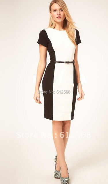 Office Ladies Black white Women Formal Work Pencil Dresses. Short ...