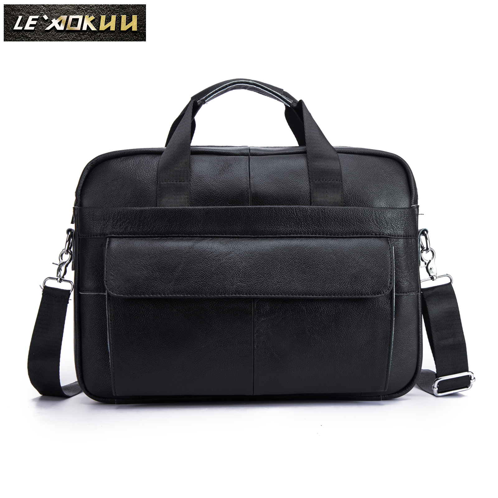 Men Quality Leather Retro Fashion Travel Briefcase Business 15.6