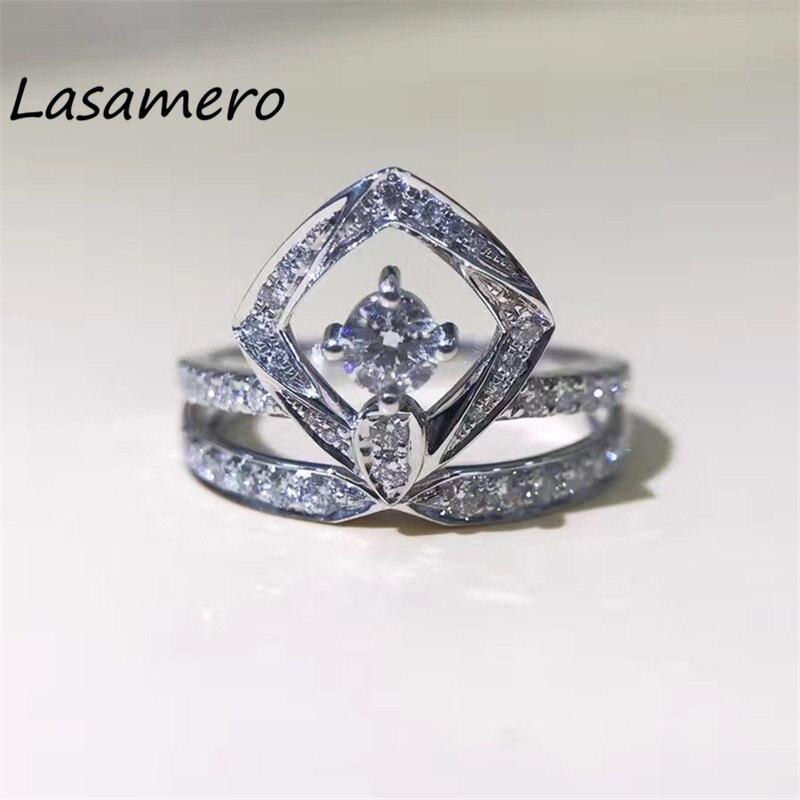 LASAMERO 0.182CT 18 k золото натуральный алмаз квадратной формы круглой огранки кольцо акценты обручальное кольцо