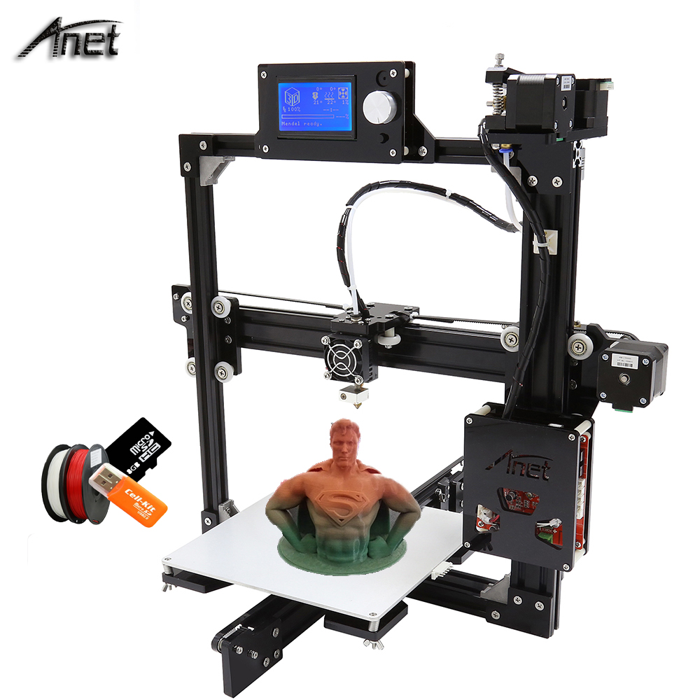 2016 Updrade Anet A2 Aluminium Metal LCD12864 / LCD2004 option printer 3d DIY Prusa i3 3d Printer Kit With 1Roll Filament