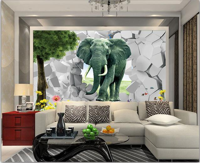 3d Wallpaper Custom Mural Non Woven 3d Room Wallpaper 3d Elephant Break Wall  Setting Wall Painting Photo 3d Wall Mural Wallpaper