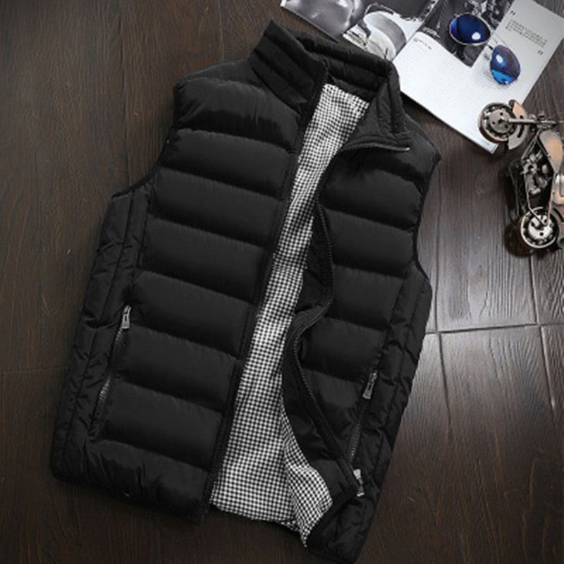 Mens Jacket Sleeveless Vest Winter Fashion Casual Slim Coats Brand Clothing Cotton-padded Men Vest Men Waistcoat Big Size Nz691 #1
