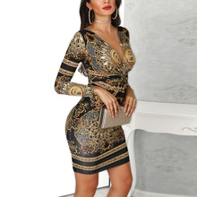 Sexy Deep V-neck Palace Print Bodycon Dress Women Long Sleeve Elegant Party Dress Office Lady Casual Work Mini Dress 2019