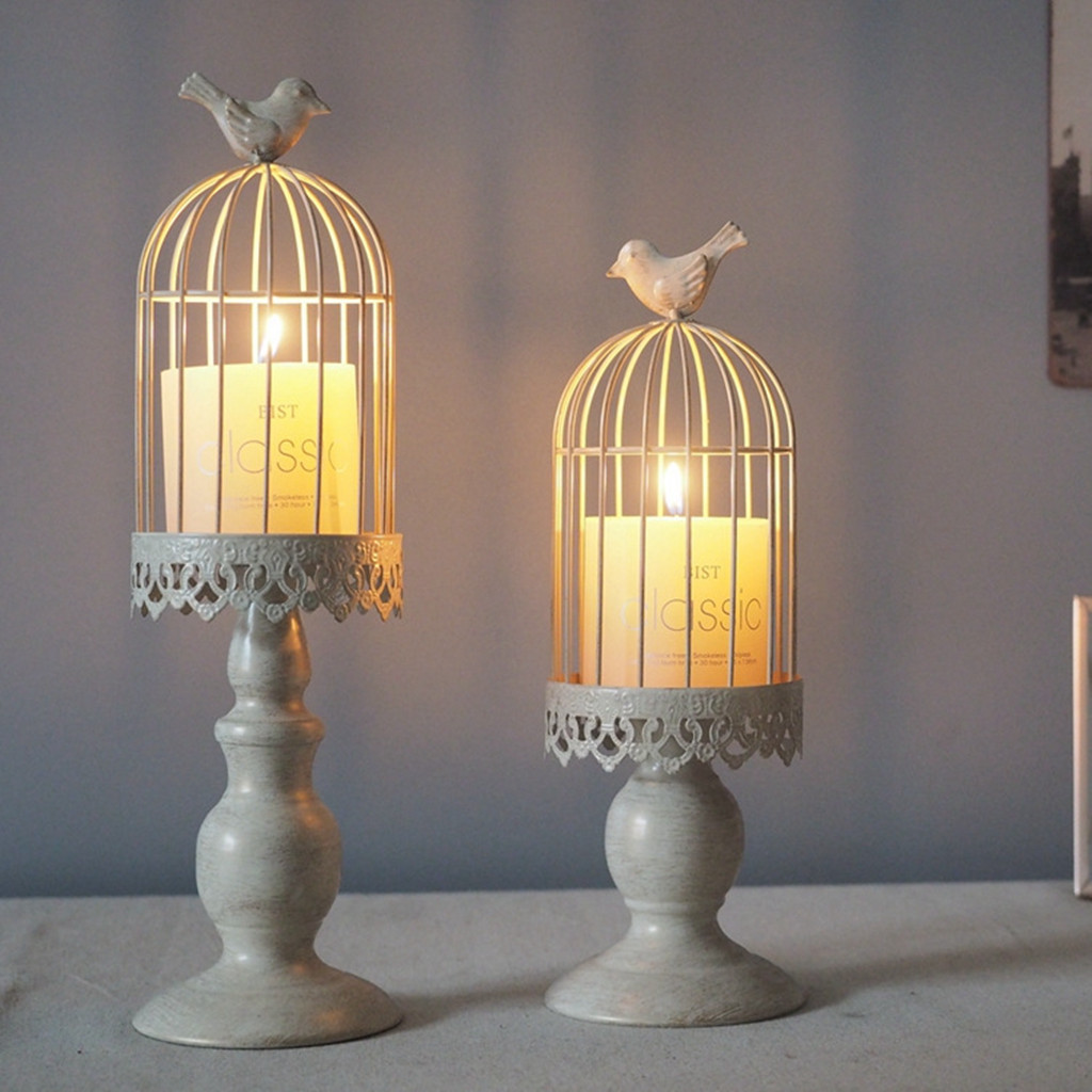 White Candle Holder Halloween Party Event Lantern Bird Cage Vintage Home Decor