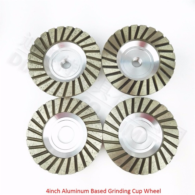 DIATOOL Diameter 4 inch 100mm Aluminum based diamond grinding cup wheel grinding wheel for granite concrete