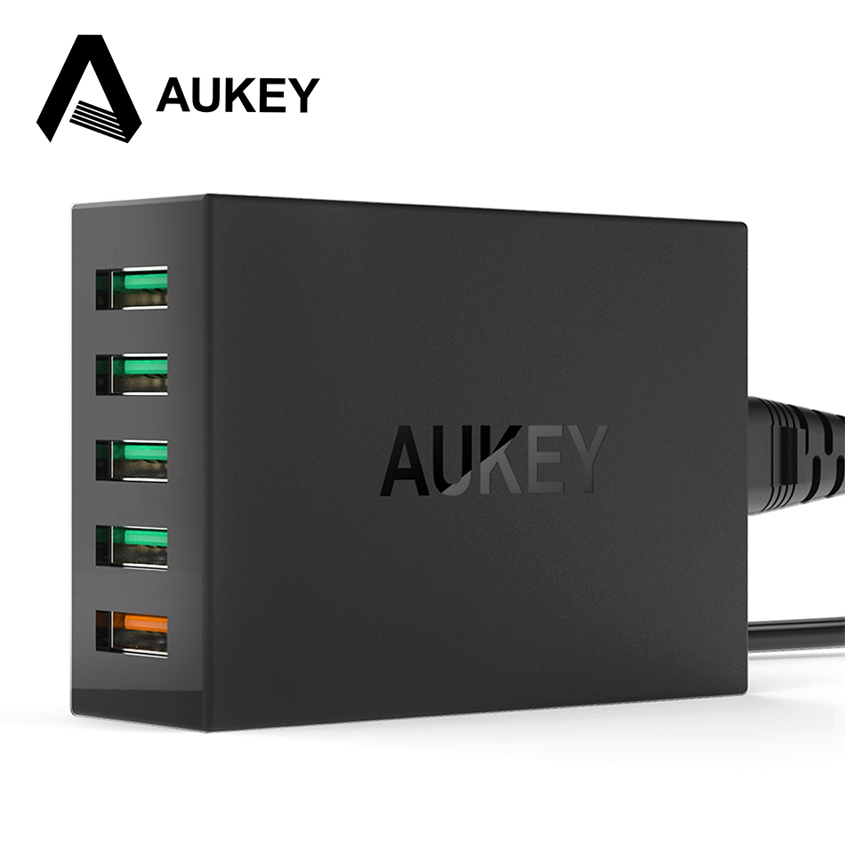 AUKEY Quick Charge 2 0 5 Ports QC2 0 USB 54W Desktop Mobile Charger Station for