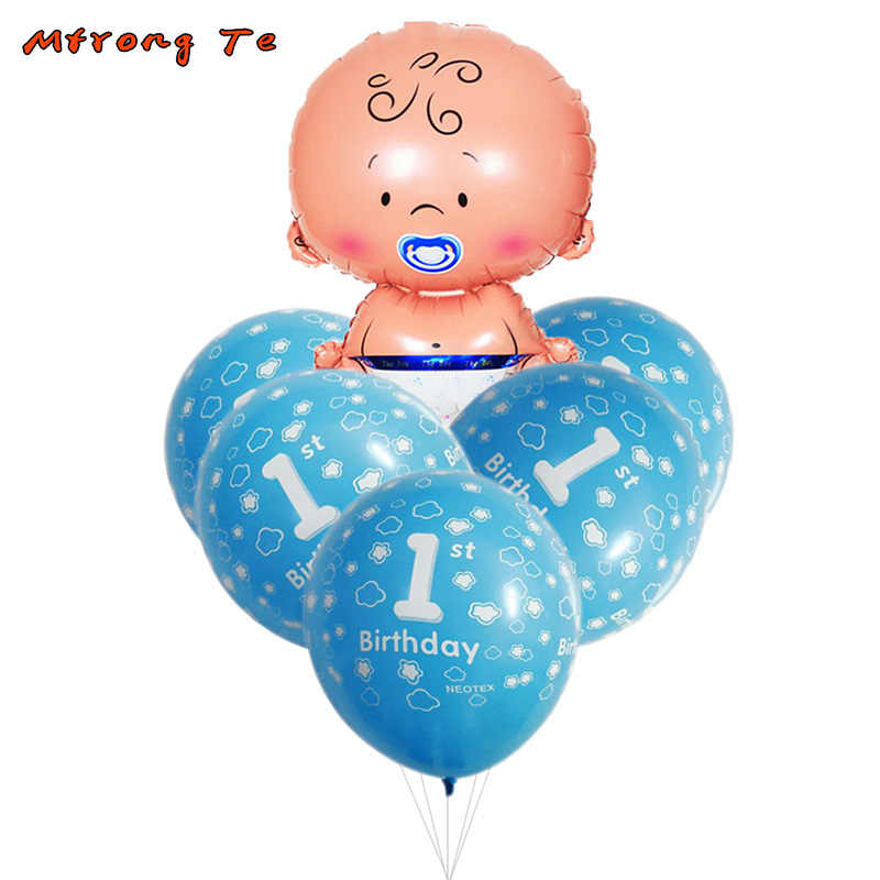 Detail Feedback Questions About 6pcs Lot Baby Shower Foil Air Balloons 1st Old Latex For Boy Girl One Year Birthday Party Decorations Kids