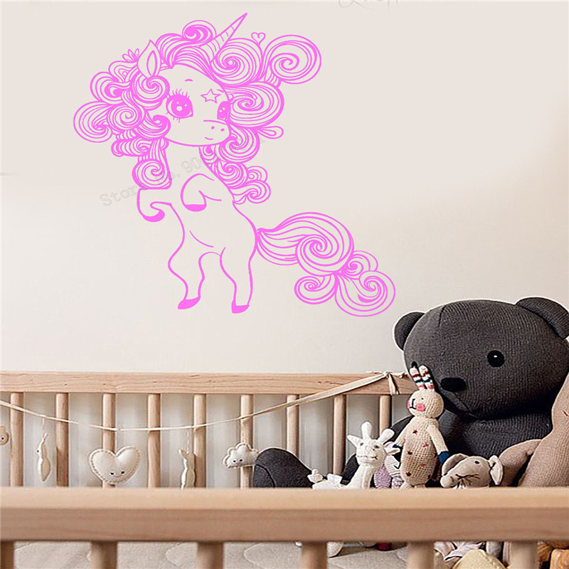 Wall Art Sticker Little Unicorn Room Decoration For Girls Baby Livingroom Vinyl Removeable Poster Beauty Cute Mural LY490 in Wall Stickers from Home Garden