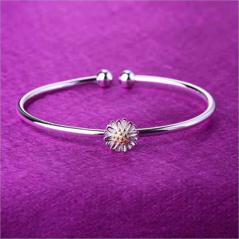 Everoyal Cute Daisy Flower Bangles For Women Jewelry Fashion Silver Bracelets Girl Party Accessories Trendy Lady Festival Gift in Bangles from Jewelry Accessories
