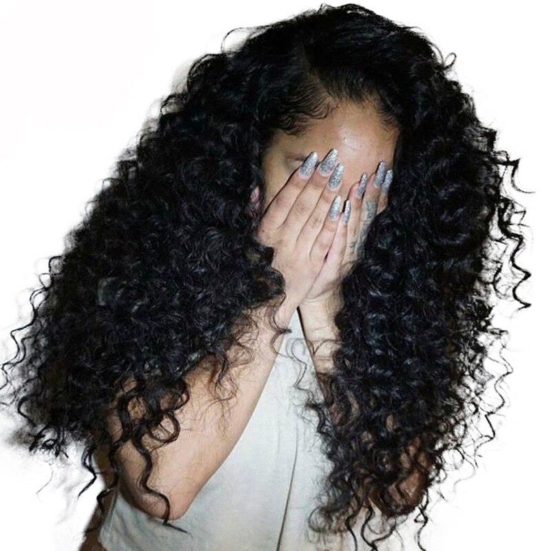 Parrucca di Capelli Umani ricci 250% Densità Anteriore Del Merletto Parrucche Per Le Donne Glueless Brasiliano Parrucche Del Merletto Pre Colto Mai di Bellezza Remy nero pieno