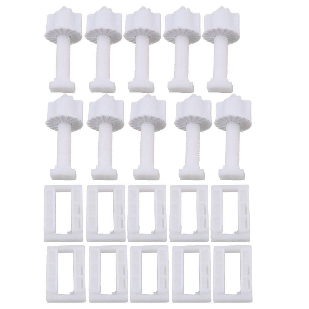 10 Stücke Weiß Kunststoff Rechteckigen Wc Sitz Abdeckung Scharnier Blind Loch Mutter Schrauben