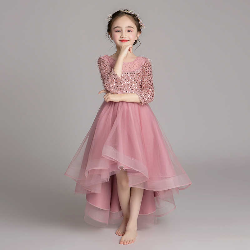 ed298c3ae8fc0 2019 Kids Girls Tulle Sequins Party Dress Children Tutu Beads Princess  Formal Prom Gown Teens Girls