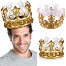 Gold Party Kids Children Crown PVC Balloon Birthday Hat Inflatable Hat 15x21cm Exquisite Party Decor Inflatable Hat #52520(China)