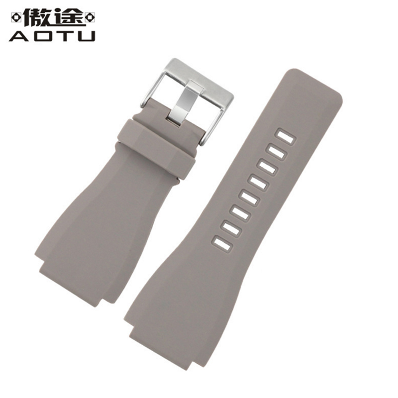 Rubber Watchbands For Bell Ross Men 34mm Convex Strap For Bell Ross Male Bracelet Belt Ladies Watch Band Rubber Watch Straps