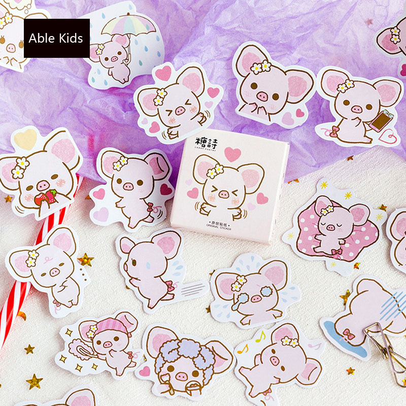 45pcs /box Kawaii Pink Piggy Stickers DIY Decorative Sealing Paste Stick Label School Office Supply Kids Gift
