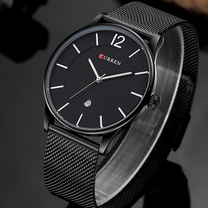 Luxury Brand CURREN Simple Fashion Style Casual Military Quartz Men Watches Ultra-thin Full Steel Male Clock Date Wristwatch