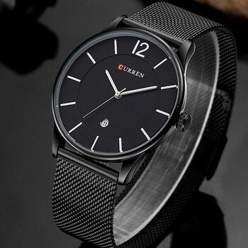 Роскошный бренд CURREN, простой модный стиль, повседневные военные кварцевые мужские часы, ультра-тонкие полностью стальные мужские часы, нару...