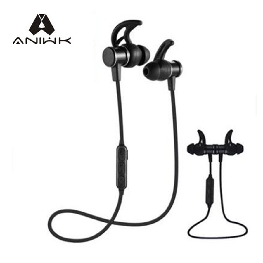 aniwk magnetic wireless bluetooth headset sports headset microphone handsfree headset bass music. Black Bedroom Furniture Sets. Home Design Ideas