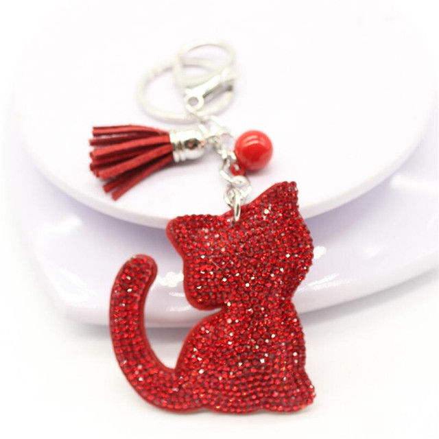 76241757de Crystal Cat Key Chain Tassel Key Ring PU Leather Cat Pattern Car Keychain  Jewelry Bag Charm porte clef pompom de fourrure